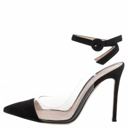 Gianvito Rossi Black Suede And Pvc Anise Pointed Toe Ankle Strap Sandals Size 38 336945