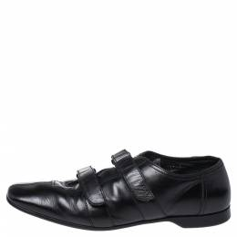 Prada Black Leather Velcro Loafers Size 43 352348