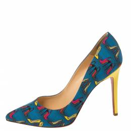 Christian Louboutin Multicolor Printed Fabric Pigalle Pumps Size 40.5 352528