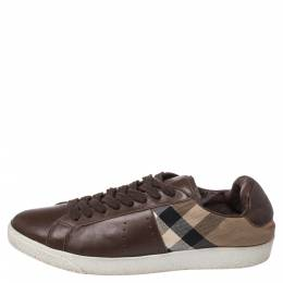 Burberry Brown Canvas And Leather Lace Sneakers Size 43 352417