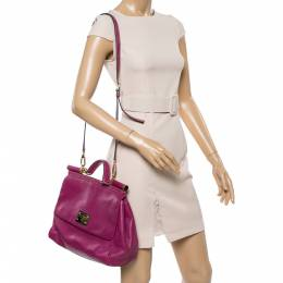 Dolce and Gabbana Magenta Soft Leather Large Miss Sicily Top Handle Bag 351977