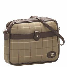 Burberry Brown Coated Canvas Check Bag 348282