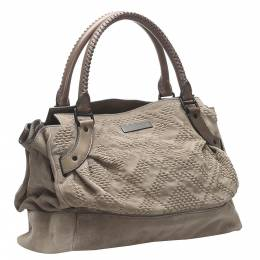 Burberry Brown Leather trimmed Suede Bag 348275
