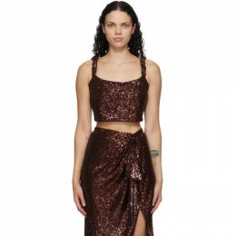 Balmain Brown Sequinned Cropped Tank Top UF00008X437