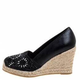 Le Silla Black Leather And Suede Embellished Wedge Espadrille Pumps Size 37 352051