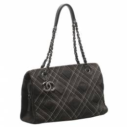 Chanel Black Leather and Suede Wild Stitch Bag 348154