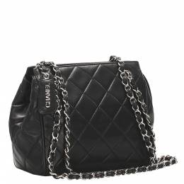 Chanel Black Lambskin Leather Vintage Quilted Bag 348152