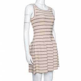 Alaia Beige & Brown Dotted Knit Fit & Flare Dress S 335068