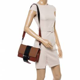 Prada Tri Color Leather Ribbon Flap Crossbody Bag 351853