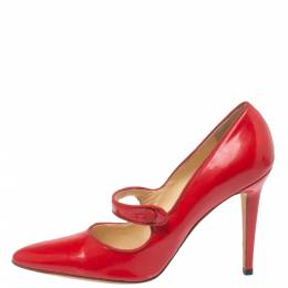Manolo Blahnik Red Patent Leather Campy Mary Jane Pumps Size 38 354029