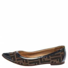 Fendi Blue/Brown Zucca Canvas And Leather Ballet Flats Size 37.5 352385