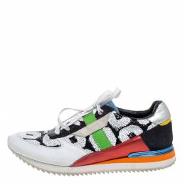Dolce and Gabbana Multicolor Sequin And Leather Low Top Sneakers Size 37 353391