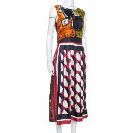Dolce and Gabbana Multicolor Abstract Print Silk Sleeveless Dress M 337022