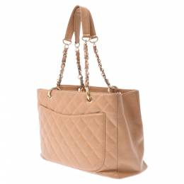 Chanel Beige Caviar Leather Grand Shopping Tote Bag 336619