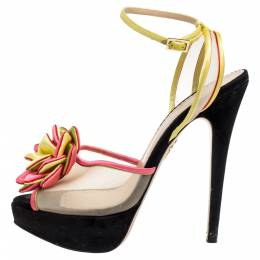 Charlotte Olympia Multicolor Satin And Mesh Flower Open Toe Platform Ankle Strap Sandals Size 40.5 336996