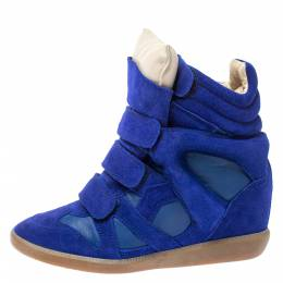Isabel Marant Electric Blue Suede Leather Beckett Wedge High Top Sneakers Size 37 354861