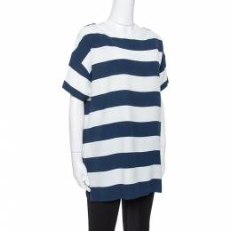 Dolce and Gabbana Blue/White Striped Crepe Top M 354258