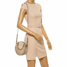 Chloe Beige Leather and Suede Pixie Round Crossbody Bag 354223