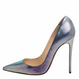 Christian Louboutin Multicolor Disco Iridescent Leather So Kate Pumps Size 38.5 354314