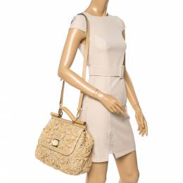 Dolce and Gabbana Beige Crochet Raffia, Fabric and Leather Large Miss Sicily Top Handle Bag 354130
