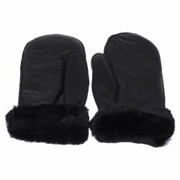 Chanel Black Quilted Leather CC Snow Gloves 354122
