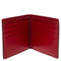 Burberry Red Perforated Leather Bill Bifold Wallet 354358