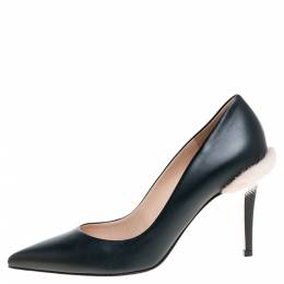 Fendi Dark Green Leather and Fur Trim Pointed Toe Pumps Size 38 352260