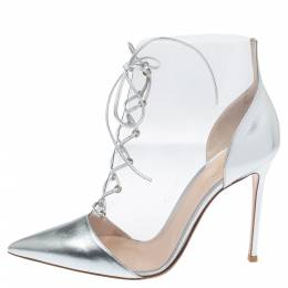 Gianvito Rossi Transparent PVC and Metallic Silver Leather Plexi Lace Ankle Boots Size 40.5 353942