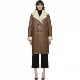 Yves Salomon Brown Shearling Double-Breasted Coat 21W21WYM65204MESI