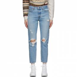 Levi's Blue Distressed Wedgie Fit Ankle Jeans 22861-0063