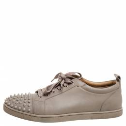 Christian Louboutin Beige Leather Louis Junior Spikes Low Top Sneakers Size 44 355056