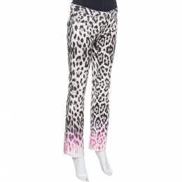 Roberto Cavalli Brown/Pink Ombre Animal Print Cotton Flare Leg Jeans S 354943