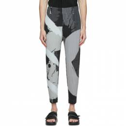 Homme Plisse Issey Miyake Grey and Black Cropped Big Brush Trousers HP08JF246