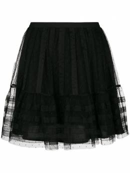 Red Valentino tulle pleated short skirt QR3RA03A3TW