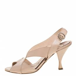 Prada Beige Glossy Patent Leather Criss Cross Ankle Strap Sandals Size 38.5 355896