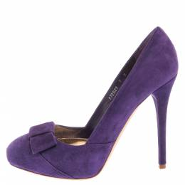 Ralph Lauren Collection Purple Suede Bow Detail Platform Pumps Size 38 355603