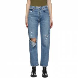 Agolde Blue Fitted 90s High-Rise Straight Jeans A154B-1141