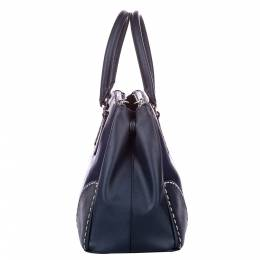 Prada Blue Leather-trimmed Canvas City Stitch Bag 353556