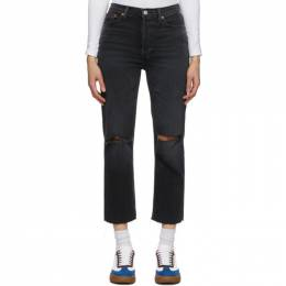 Re/done Black Faded 70s Stove Pipe Jeans 165-3WSTV27