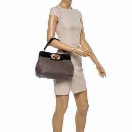 Bvlgari Brown/Black Patent And Leather Isabella Rossellini Top Handle Bag 356333