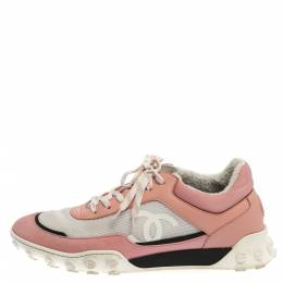 Chanel Pink/White Mesh And Leather CC Low Top Sneakers Size 40.5 356337