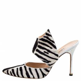 Manolo Blahnik Monochrome Zebra Print Pony Hair Pointed Toe Mules Size 39.5 356029