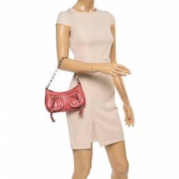 Givenchy Coral Orange Leather Chain Baguette Bag 356560