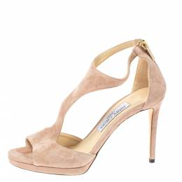 Jimmy Choo Pale Pink Suede Lana T-Strap Sandals Size 37.5 356586