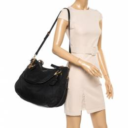 Prada Black Nylon and Leather Zip Shoulder Bag 356354
