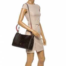 Coach Brown Signature Coated Canvas and Leather Small Mia Shoulder Bag 356737