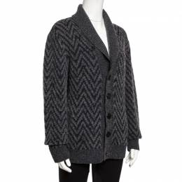 Missoni Grey Chevron Knit Wool Shawl Collar Cardigan L 253573
