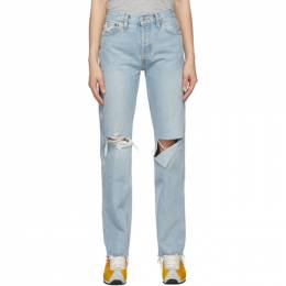 Re/done Blue Distressed 90s High Rise Loose Jeans 140-3WHRL