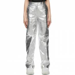 We11Done Silver Metallic Straight Trousers WD-PT9-20-051-W-SV