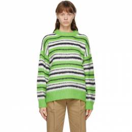 We11Done Green Knit Furry Sweater WD-KT9-20-088-U-GR